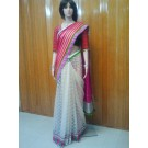 White and Pink Designer Saree
