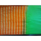 Orange Green Chiffon Half and Half Saree