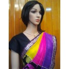 Raw Silk Saree with Purple Print and TriColor Pallu