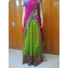 Pink and Green Half Saree